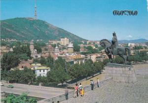 Monument to Vakhtand Gorgasali, Founder of Tbilisi, View of Holy Mountain Mta...