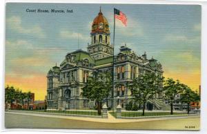 Court House Muncie Indiana linen postcard
