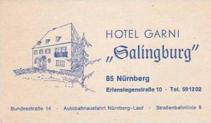 GERMANY NUERNBERG HOTEL GARNI GALINGBURG VINTAGE LUGGAGE LABEL