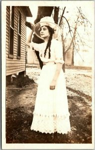 Vintage RPPC Real Photo Postcard Young Woman in White Dress & Large Hat Outdoors
