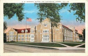 Aurora IL~C.M. Bardwell School & Auditorium~Flag~Corner View from Street~1943