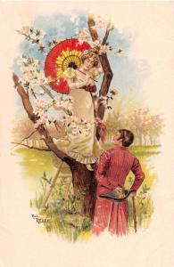 WOMAN IN CHERRY TREE~PARASOL~ROMANCE ARTIST DRAWN RUDI ROTHER POSTCARD 1900s