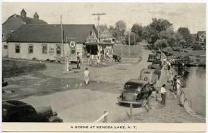 Kenoza Lake NY Texaco Gas Station Fishing Postcard