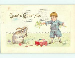 Divided-Back easter BUNNY RABBIT WATCHES BOY WITH WAGON r3186