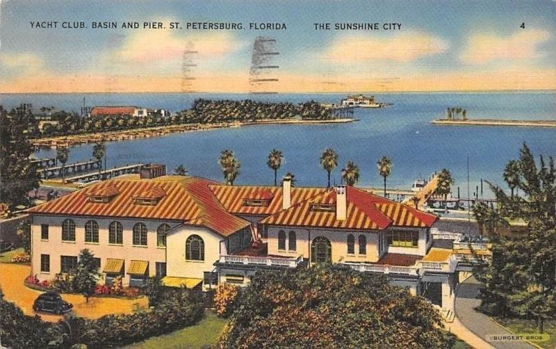 USA Yacht Club, Basin and Pier St. Petersburg Florida, The Sunshine City 1938 po