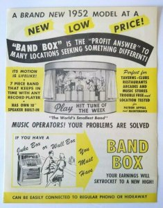 Chicago Coin Band Box Jukebox FLYER 1952 Original Animated Manikin Musicians NOS