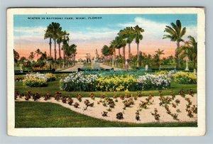 Miami, FL-Florida, Winter Scene In Bayfront Park, Vintage c1935 Postcard