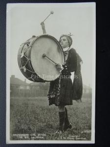 Scottish DAGENHAM GIRL PIPERS The Big Drummer in Kilt Sporran - Old RP Postcard