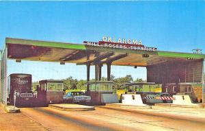 Tulsa OK to Joplin MO Will Rogers Turnpike Toll Booth Old Cars Truck Postcard
