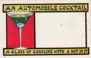 An Automobile Cocktail, Glass of Gasoline with a nut in it , 1901-07