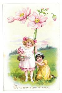 Tuck Fantasy Birthday Postcard Girls Giant Pink Flowers