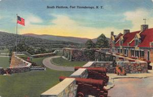South Platform, Ft. Ticonderoga, N.Y.,  Early Linen Postcard, Unused