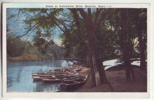 P803 old card scene on cottonwood river, emporia kansas, row boats