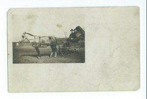 Postcard RPPC Woman and Man In A Horsedrawn Buggy or Wagon Unposted VPC8.