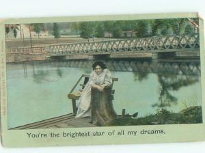 Divided-Back PRETTY WOMAN Risque Interest Postcard AA7786