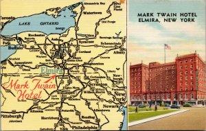 Mark Twain Hotel - hotel and NY map multi view Elmira New York postcard