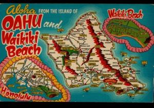 Honolulu HI Oahi Waikiki Beach Ray Helbig's Crocker Map Vintage Postcard D01