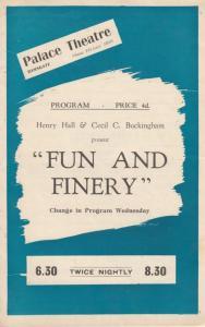 Fun & Finery Palace Theatre Ramsgate Kent Dick Henderson Albert Burdon Programme
