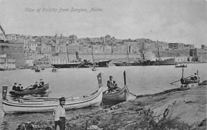 Malta View of Valletta from Senglea Boats Bateaux Panorama