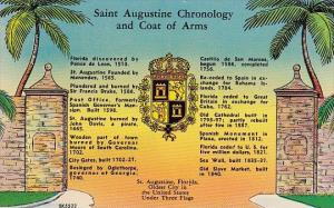 Florida Saint Augustine Chronology And Coat Of Arms Oldest City In The United...