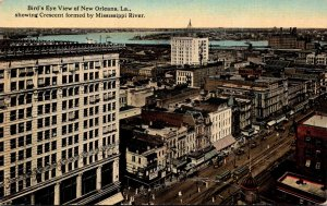 Louisiana New Orleans Birds Eye View Showing Crescent Formed By Mississippi R...