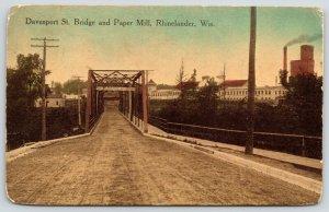 Rhinelander Wisconsin~Davenport Street Bridge~Fine Sign~Paper Mill Factory~1914