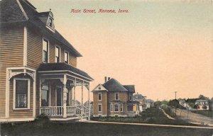 LPS74 MONONA Iowa Main Street View Hand Colored Postcard