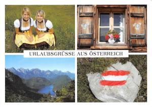 Urlaubsgruesse aus Oesterreich, Blonde Women House Window Lake General view