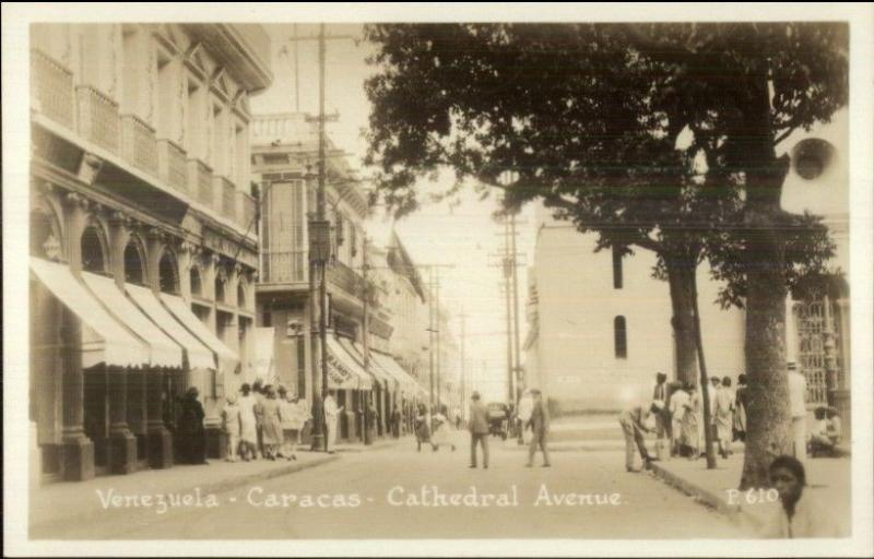 Caracas Venezuela Cathedral Avenue Canadian Pacific Cruise RPPC Postcard