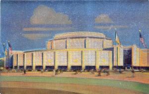 1939 New York World's Fair Metalite Railroad Transportation Bldg M111 Postcard