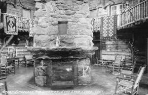Echo Lake Lodge Colorado Fireplace Interior Real Photo Antique Postcard K50569