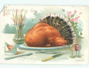Pre-Linen Thanksgiving signed COOKED TURKEY BIRD ON PLATTER AB4423