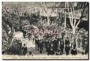 Old Postcard Toulon Funerals of victims of Liberty Sailors wearing crowns