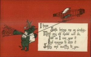 Christmas - Santa Claus Airplane Green Coat Megaphone GK Prince Postcard