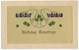 041721 VINTAGE ART NOUVEAU BIRTHDAY GREETINGS POSTCARD VIOLETS AND CLOVER