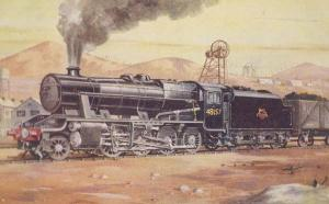 8F Haulage Coal Heavy Freight Train Painting History Antique Postcard