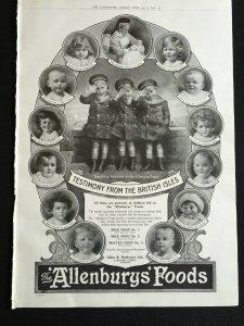 WW1 Era 1915 Newspaper Advert Page ALLENBURYS FOODS TESTIMONY FROM BRITISH ISLES