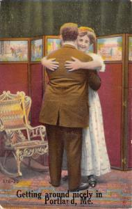 Getting Around Nicely in Portland Maine~Large Victorian Couple Hug~1911 PC