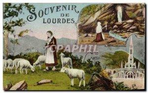 Old Postcard Remembrance Lourdes Bernadette Sheep