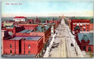 Cheyenne, Wyoming Postcard Bird's-Eye Panorama View of Downtown c1910s