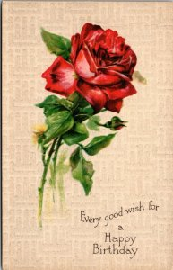 A HAPPY BIRTHDAY - ROSE FLOWERS - VINTAGE POSTCARD