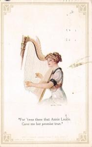 F Earl Christy~Annie Laurie Gave Me Her Promise True~Lovely Lady Plays Harp~1912