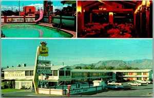 1960s Socorro, New Mexico Postcard GOLDEN MANOR MOTEL / Roof-Top Restaurant
