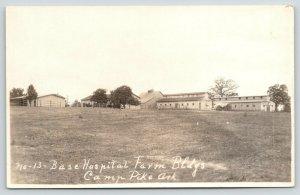 Camp Pike Arkansas~Base Hospital~Farm Buildings~Horses in Corral~1920s RPPC