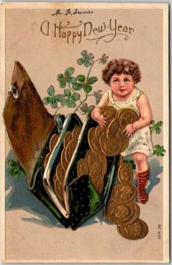 1910s HAPPY NEW YEAR Greetings Postcard Girl w/ Large Gold Coins / Clover