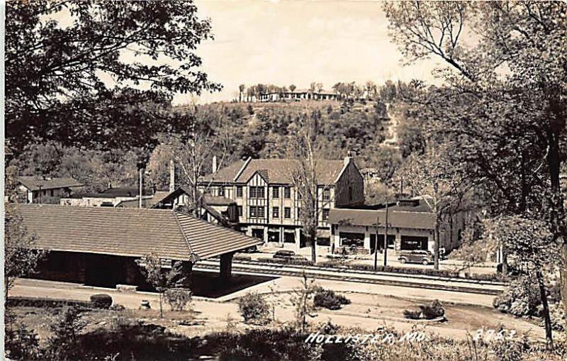 Hollister MO Post Office Railroad Station Train Depot Tracks RPPC Postcard