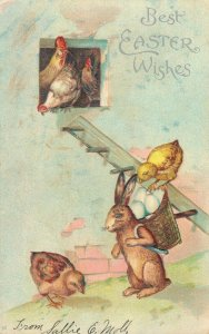 Best Easter Wishes Rabbit and Chickens Embossed 03.93