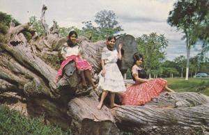Three Girls Wearing Dresses, Motivo Tipico, Paraguay, 1940-1960s