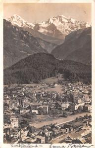 Switzerland Old Vintage Antique Post Card Interlaken Monch a Jungfrau 1922 Re...