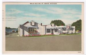 Belle Isle Inn St Ignace Michigan 1952 linen postcard
